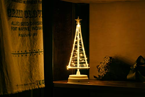 HONESTY Mini Christmas Tree, Decorative Lights for Home/Decoration/Party/Wedding, 10Inch 40LED USB or Battery Powered, Warm White Mini Lamp, Inside White S