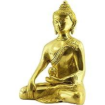 Crafkart Thai Buddha Meditating Peace Harmony Statue, [Dhyana Mudra] Religious Decor Handmade Brass Antique Look Shakyamuni Sculpture Figurine