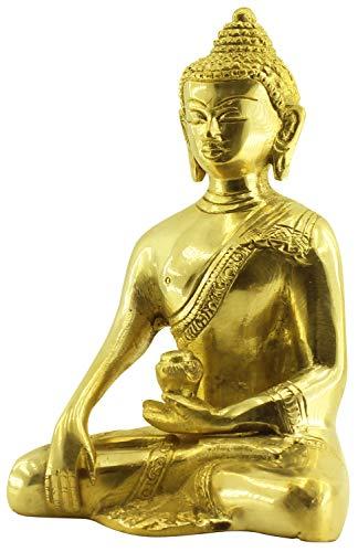 (Crafkart Brass Lord Buddha Statue Sculpture Figurine Thai Buddha Meditating Peace Harmony Statue [Dhyana Mudra] Religious Decor Handmade Brass Antique Look Shakyamuni Sculpture Figurine)