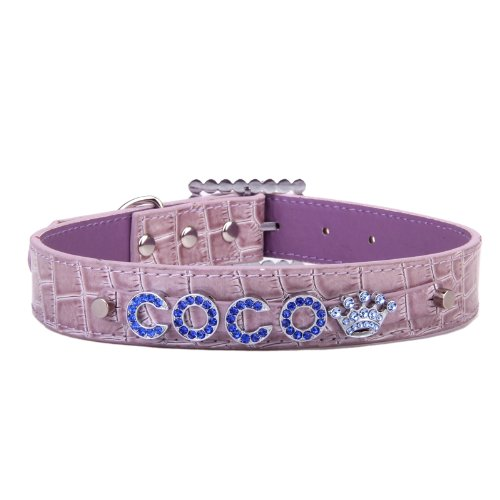 Personalized Custom Croc PU Leather Rhinestone Pet Name Dog Cat Collar Light Purple XL