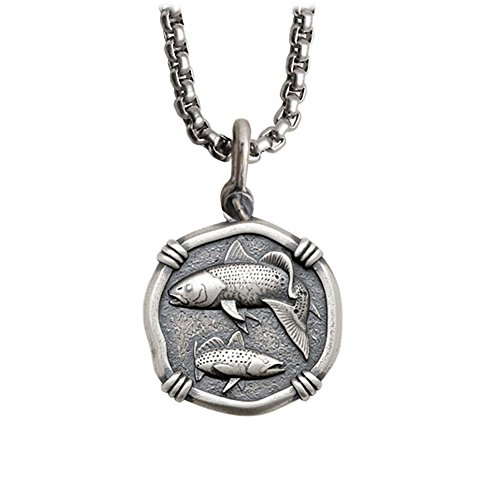 Guy Harvey Redfish / Trout Sterling Silver Medallion on a Sturdy 22