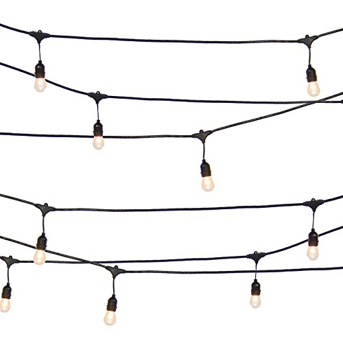 Marketworldcup-Commercial Weatherproof 48' Outdoor String Lights 16 Bulbs Party Patio Lights by Marketworldcup