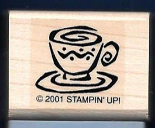 Swirl Tea Saucer - Rubber Stamp Frames Tea Cup Saucer Swirl Design Small 2001 Wood Mount Blue Rubber Stamp