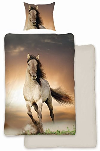 SkyBrands Parure de lit en coton renforc/é Motif cheval 135/x 200/cm 80/x 80/cm