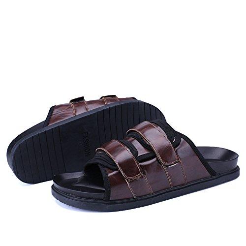 Uomini Pantofole Fashion Sandali popolari Pelle scioccata Parola trascinata Beach Sandali Uomini Sandali, marrone, UK = 8,5, EU = 42 2/3