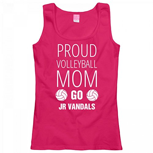 FUNNYSHIRTS.ORG Proud Volleyball Mom Go Jr Vandals: Ladies LAT Relaxed Fit Scoopneck Tank Top (Raglan Proud Jr Mom)