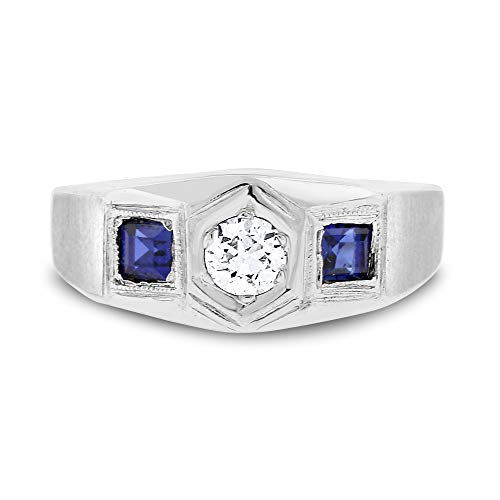 (Desire My Diamonds 0.80 Ct. Vintage Estate Diamond & Sapphire Mens Pinky Ring in Solid 18k White Gold)