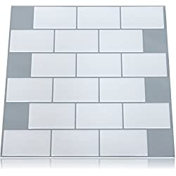 Appeal Tiles - Premium Peel & Stick Wall Tile - Subway Gray Grout (10 Pack)