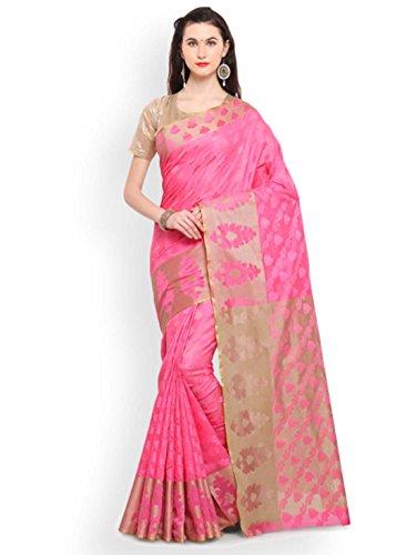 Pink Silk Woven Export Cotton Indian Saree Kanjeevaram Design Lenora Handicrfats IqwSyyFAt