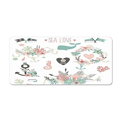 (Get Noy Save The Date Collection Summer Ocean Flowers Bouquets Wreath Wedding Image License Plate Cover Aluminum Car Tag Cover License Tag Holder License Plate Frame for US Vehicles Standard)