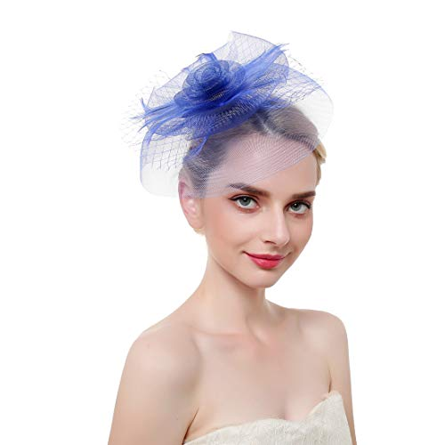 Vintage Mesh Hair Clip Fascinators Top Hat for Women Tea Party Wedding Headwear Cocktail Kentucky Derby Headband Blue (Blue Sequin Top Hat)