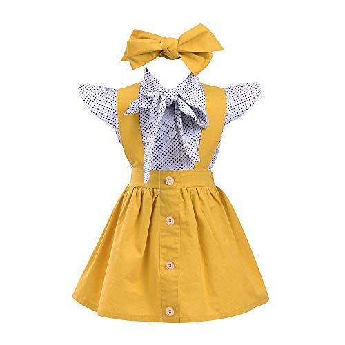 Toddler Baby Girl Clothes Ruffles Short Sleeve Bowknot Shirt+Overall Skirt with Headbands 3Pcs Outfits Set School Uniform (Gray, 6-12 M)