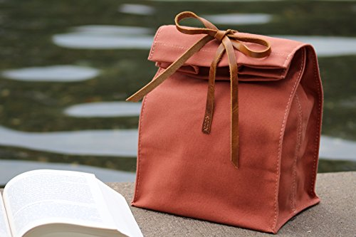 Coated Canvas Gold Leather (Waxed Canvas Lunch Bag, Handmade,Real Leather, , Lunch Tote, Classic Paper Bag Style, Assorted colors, Eco-friendly Cotton, Reusable, Durable, Waterproof, Lunch Bag, Lunch Box, Picnic,)