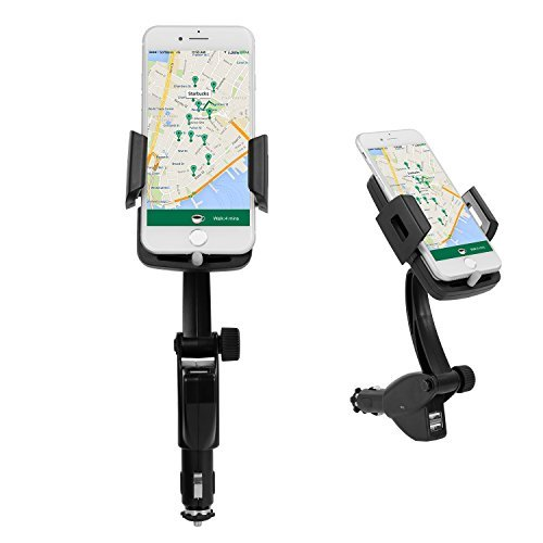 Universal Gps Charger (Car Mount, Ameauty 3-In-1 Universal Cigarette Lighter Car Phone Charger Holder with Dual USB 3.1A Car Charger for GPS, iPhone, Samsung, HTC and More Smartphones)