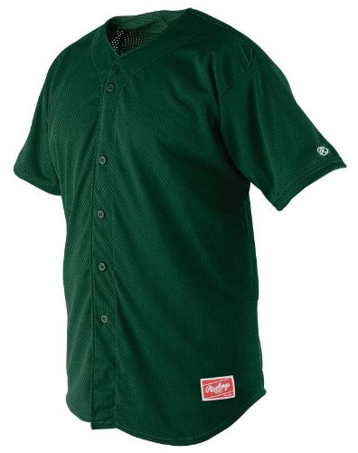 Rawlings Men's Full Button RBJ167 Jersey , Dark Green, Large