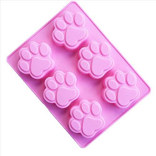 Beicai 新 6 空洞猫足跡シリコーンフォンダンケーキ金型キャンディチョコレート石鹸手作りベーキングモールドケーキデコレーションツール TSLM1 (Size : United States)