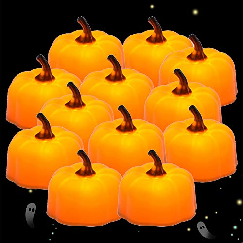 Pumpkin Candles, PChero 12pcs Unique Shape Battery Operated Flickering Flameless LED Tea Lights for Halloween, Thanksgiving, Christmas and Holiday Decor [Amber Yellow]