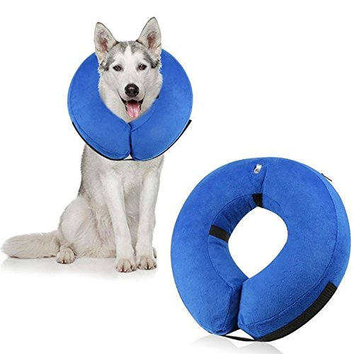 Moonper Pet E-Collar Soft Protective Inflatable Cone Collar Adjustable Soft Recovery Collar Elizabethan Designed to Protect The Wound (S, Blue) ()