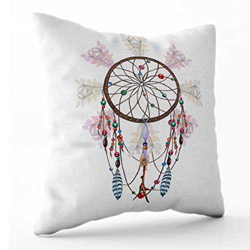 Douecish Pillow Covers, Household Cushion Soft Home Sofa Decorative Throw Pillow Cases Watercolor Dreamcatcher Feathers Chicken Foot Charm amp Beaded Ribbons Double Printed 20X20 inches