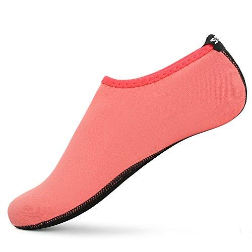SENFI Unisex Wasser Haut Schuhe Barfuß Aqua Socken für Pool-Wasser-Aerobic-Übung 01cherry