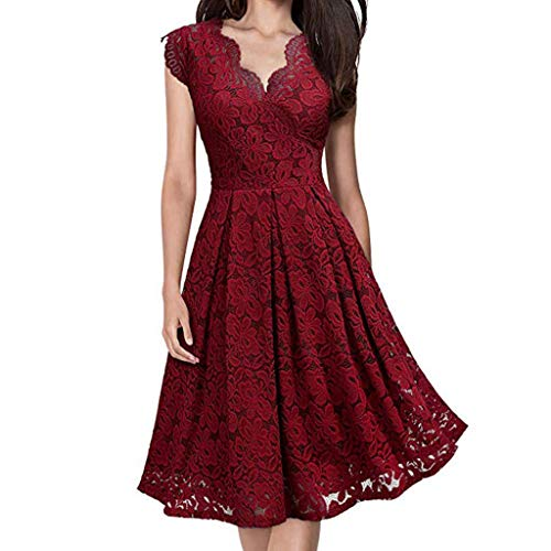 FEDULK Womens Lace Dress Sleeveless V Neck A Line Flared Solid Colour Formal Evening Party Dress(Wine Red, Small) ()