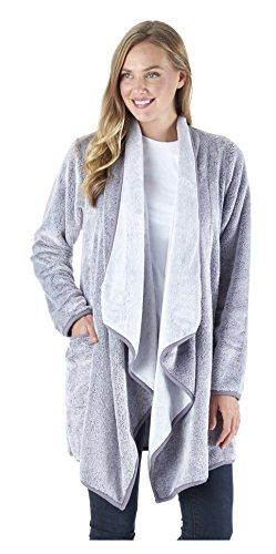 Sleepyheads Women's Sleepwear Fleece Wrap Robe with Pockets, Long Sleeve Loungewear Cardigan, Purple (SH1450-4071-S/M)