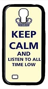 Samsung Galaxy S4 I9500 Black Hard Case - Keep Calm And Listen To All Time Low Galaxy S4 Cases