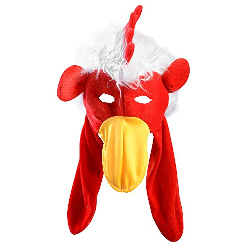 Chicken hat - Adults Rooster Hat with Mask - Novelty Hats by Funny Party Hats (Chicken Hats)