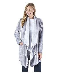 Sleepyheads Women's Ultra Soft Fleece Short Wrap Robe, Long Sleeve Cardigan Bed Jacket
