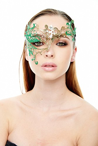 [Vanessa Gold/Green Masquerade Mask (Clear Rhinestones; Unisex; One Size Fits Most)] (Womens Masquerade Costume Countess)