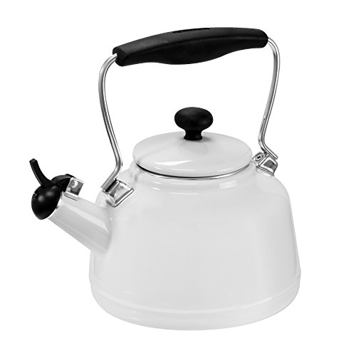Chantal 37-VINT WT Enamel on Steel Vintage Teakettle, 1.7 quart, (White Stove Top Kettle)