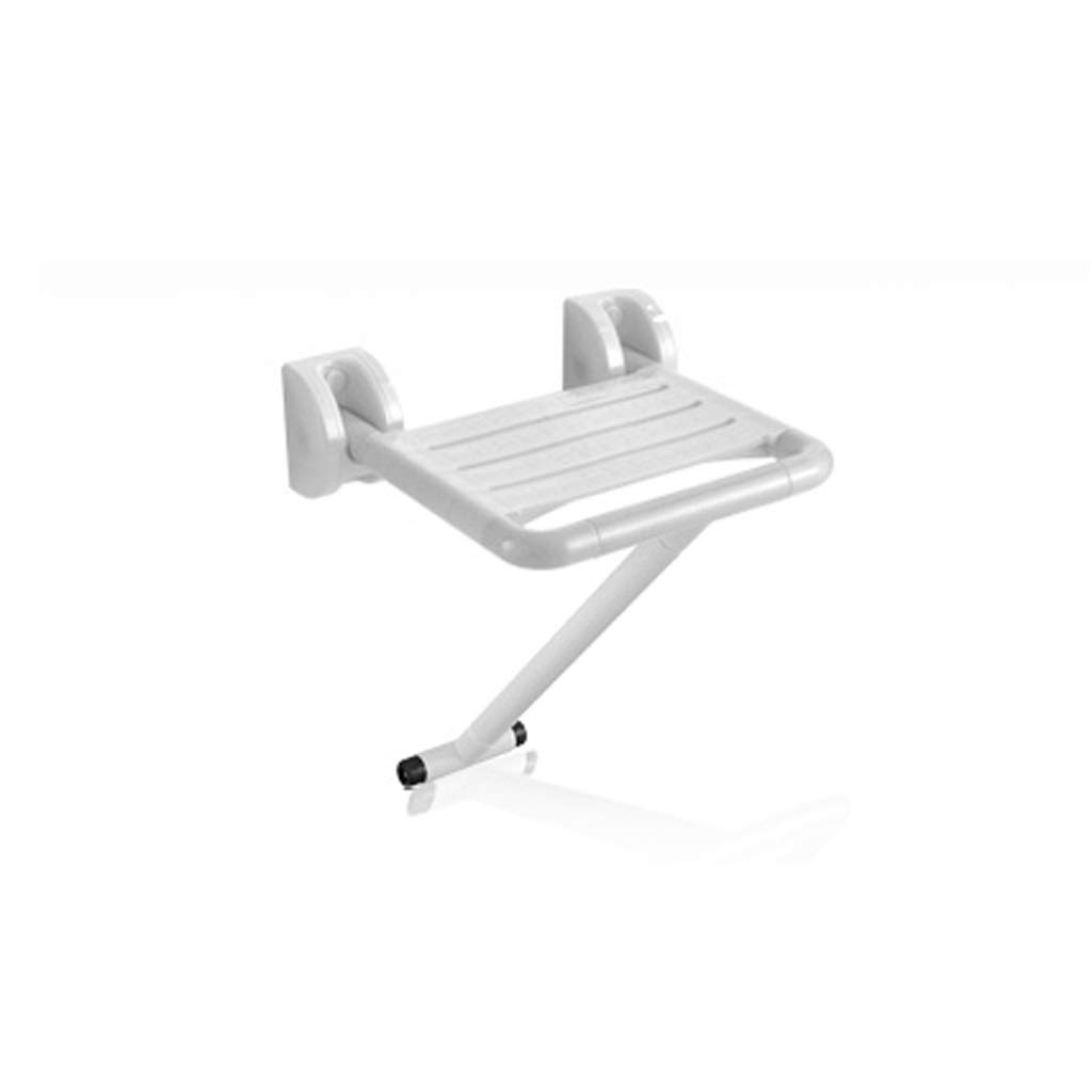Bath Stool Bathroom Folding Stool Shower Room Entrance Door Wearing Shoes Maternity Room Dressing Room Wall-Mounted Seat (Color : White, Size : 40cm40.5cm)