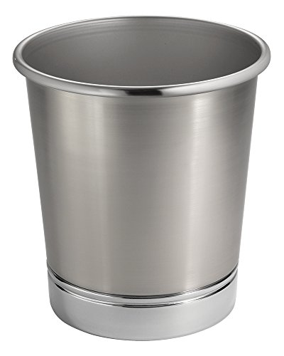 mDesign Decorative Round Metal Small Trash Can Wastebasket Organizer, Garbage Container Bin for Bathrooms, Kitchens, Home Offices - Brushed Nickel Finish and Polished Chrome Base