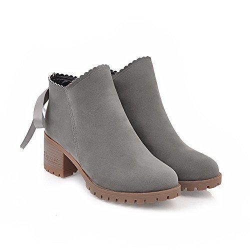 Mid Gray Heel Zipper Solid Womens 5 Kitten Bows ABL09756 US M Urethane B Top BalaMasa Boots Uwxn8Y1n