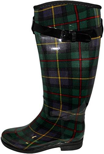 NyVip NY VIP Womens Fashion Snow/Rain Plaid Boots R124 Green Plaid 2d6nMCt