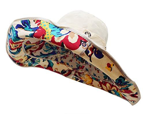 Bienvenu Women Summer Sun Cap Wide Brim Beach Bohemia Foldable UPF 50+ Travel Beach Sun Visor Bucket Hat