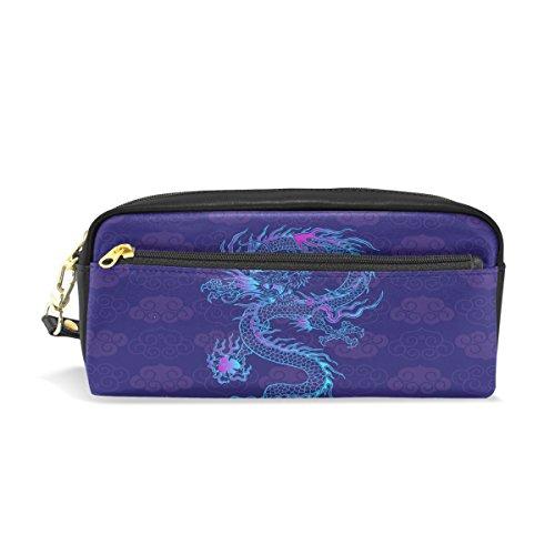 Chinese Dragon PU Leather Pencil Case Portable Pen Organizer
