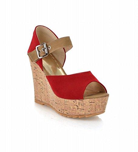 Bedel Voet Mode Dames Sleehak Peep Toe Sandaal Rood