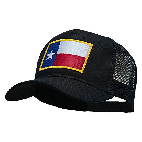 E4hats Texas State Flag Patched Mesh Cap - Black (State Flag Trucker Hat)