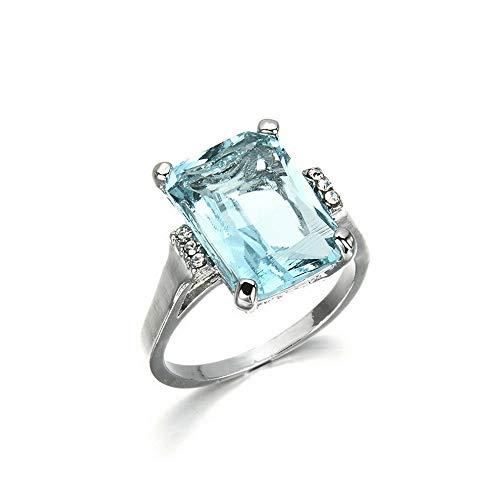 Monowi Fashion Woman Jewelry Aquamarine 925 Silver Wedding Bridal Ring Size 6-10 | Model RNG - 6793 | ()