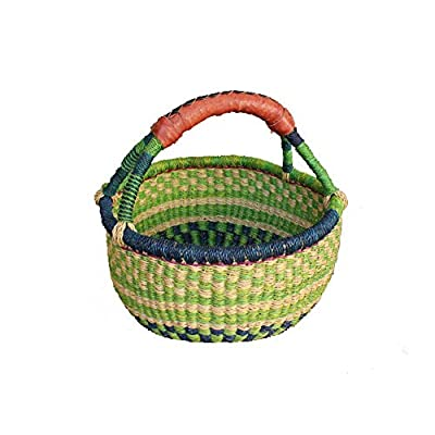 AFRICAN MARKET BASKET, Colorful Woven Fair Trade African Round Baskets for The Table, Picnic, Farmers Market, Garden, Harvest, and Toy Storage, 1 EA: Home & Kitchen