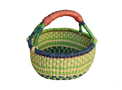 Table Harvest Picnic - AFRICAN MARKET BASKET, Colorful Woven Fair Trade African Round Baskets for The Table, Picnic, Farmers Market, Garden, Harvest, and Toy Storage, 1 EA
