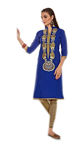 Jayayamala Beauty Blue Cotton Neck Bestickte Tunika mit 3/4 Ärmel Top / Indian Kurti, Strand-Tunika, Sommer-Tunika