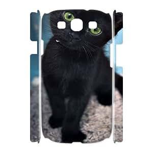 Qxhu black cat Hard Plastic Cover Case for Samsung Galaxy S3 I9300 3D case