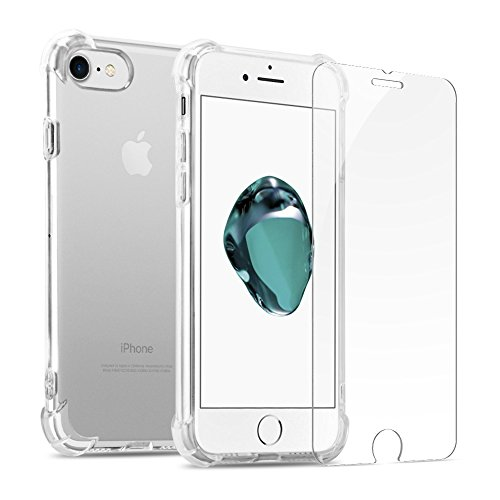 iPhone 7 Plus Case, iPhone 8 Plus Clear Case with Tempered Glass - 360 Full Body Protective - Shock Absorption Bumper - Soft TPU Cover Skin Cases for iphone 7/8 Plus Built-in Screen Protector