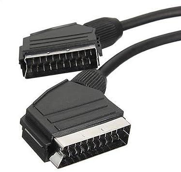Cable euroconector estándar de 1,5 m con cable de 21 pines RGB Sky TV, reproductor de DVD, cine en casa, TV de vídeo y audio: Amazon.es: Electrónica