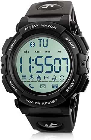 Beeasy Mens Digital Sport Watch Waterproof Military Wrist Watches with Pedometer Calorie Stopwatch Call SMS Reminder for Men