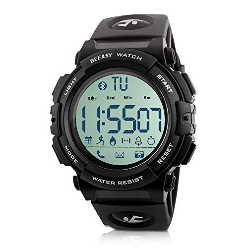 - Beeasy Mens Sport Watch Waterproof Digital Wristwatches Military Smart Wrist Watches Bluetooth Fitness Tracker Watch with Pedometer Calorie Stopwatch Call SMS Reminder for Men Support iOS Andriod