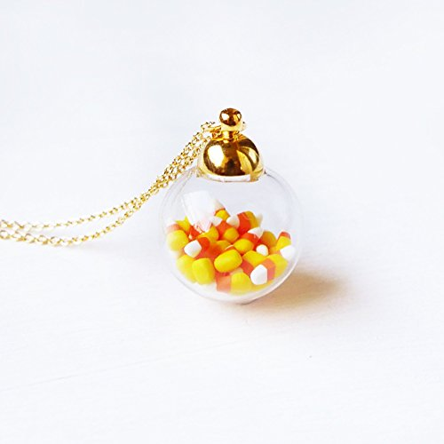 (Elfi Handmade Cute Tiny Candy Corn in Mini Glass Jar Necklace Miniature Dessert Food Jewelry, Halloween Gift, Kawaii, Best selling, Perfect for Christmas)