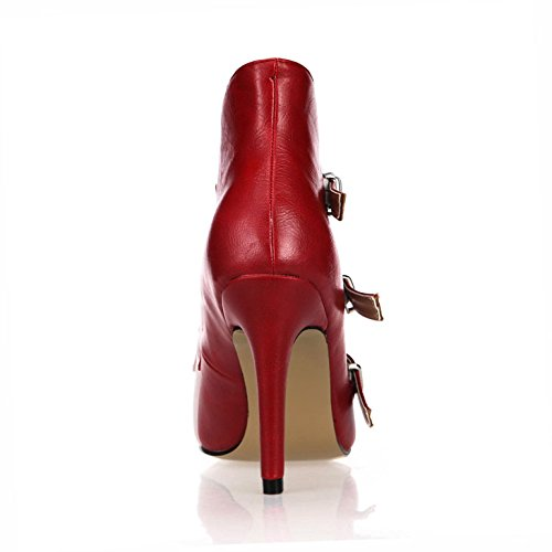 boots heel Short Boot Wine pointed wine high nightclub on and shoes female toe with red new red Ladies qfxZ5nzf